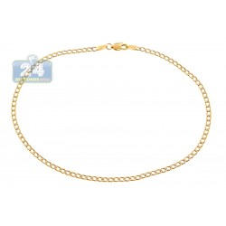 10K Yellow Gold Cuban Diamond Cut Ankle Bracelet 10 Inches
