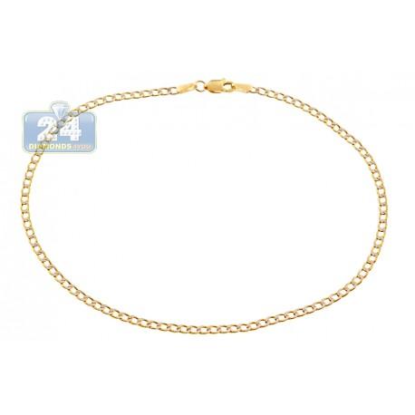 "Solid 10K Yellow Gold Cuban Diamond Cut Ankle Leg Bracelet 10"""