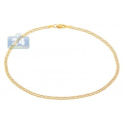 10K Yellow Gold Mariner Diamond Cut Ankle Bracelet 10 Inches