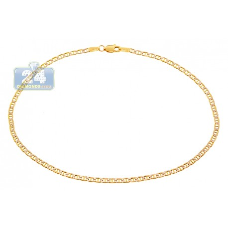 10K Yellow Gold Mariner Diamond Cut Womens Ankle Bracelet 10""