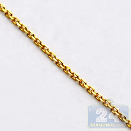 14K Yellow Gold Cable Link Unisex Chain 0.8 mm 18 Inches