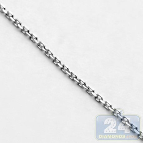 14K White Gold Cable Link Chain 0.8 mm 18 Inches Unisex Design