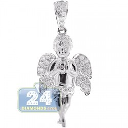 Mens Diamond Praying Baby Angel Pendant 10K White Gold 0.58ct