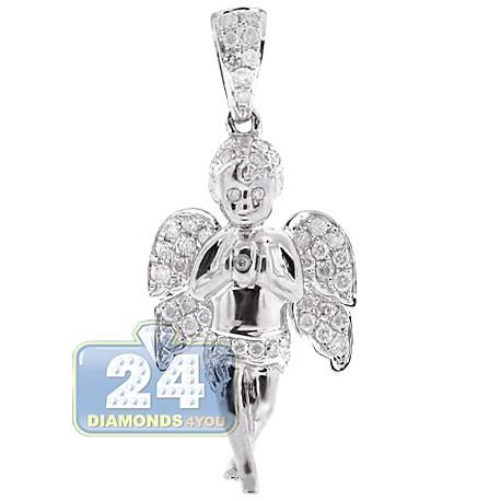 Mens Diamond Praying Baby Angel Pendant 10K White Gold 0.58ct