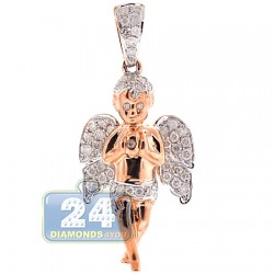 10K Rose Gold 0.58 ct Diamond Praying Baby Angel Pendant