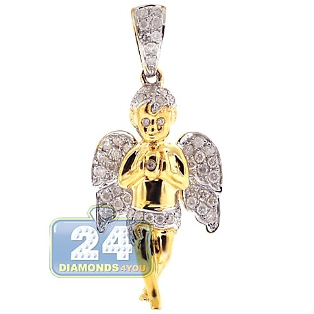 Mens Diamond Praying Baby Angel Pendant 10K Yellow Gold 0.58ct