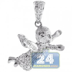 Mens Diamond Flying Baby Angel Pendant 14K White Gold 0.55ct