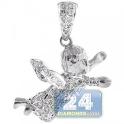 14K White Gold 0.55 ct Diamond Unisex Angel Pendant
