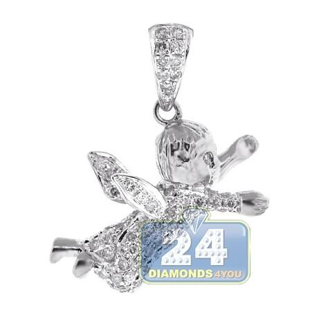Mens Diamond Flying Baby Angel Pendant 14K White Gold 0.55ct