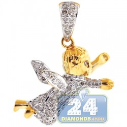 Mens Diamond Flying Baby Angel Pendant 14K Yellow Gold 0.56ct