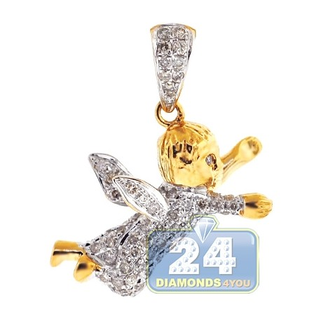Mens Diamond Flying Baby Angel Pendant 14K Yellow Gold 0.56ct