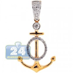 14K Yellow Gold 0.37 ct Diamond Mariner Anchor Pendant