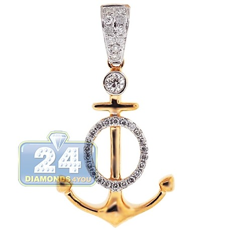 Mens Womens Diamond Mariner Anchor Pendant 14K Yellow Gold