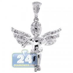 10K White Gold 0.60 ct Diamond Unisex Angel Pendant