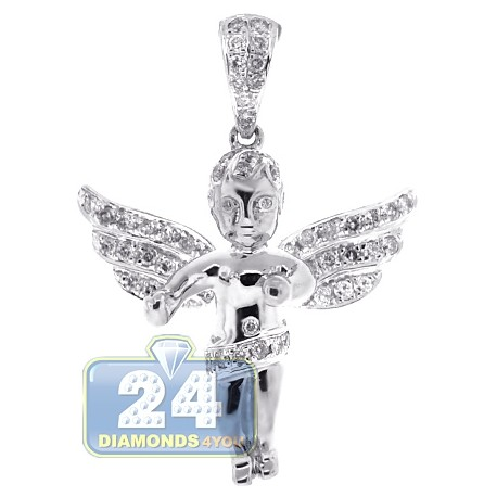Mens Diamond Guardian Angel Wings Pendant 10K White Gold .60ct