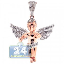 Mens Diamond Guardian Angel Wings Pendant 10K Rose Gold 0.60ct