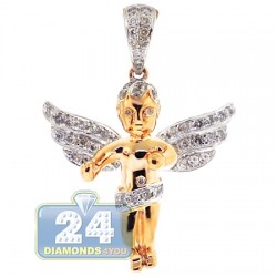 Mens Diamond Guardian Angel Wings Pendant 10K Yellow Gold .60ct