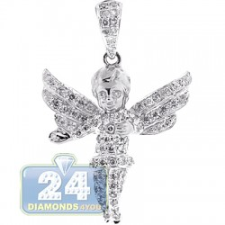 Mens Diamond Open Wings Angel Pendant 10K White Gold 0.83ct