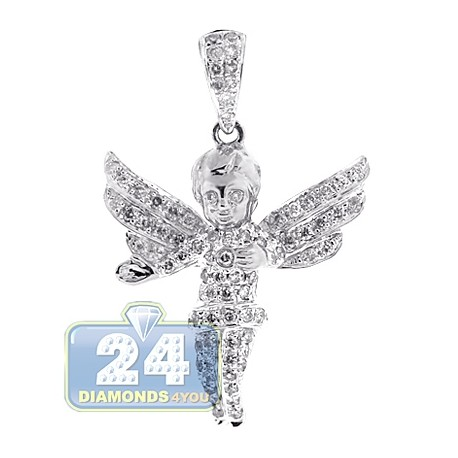 10k white gold 083 ct diamond unisex angel pendant aloadofball Image collections