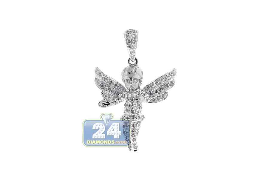 Mens diamond open wings angel pendant 10k white gold 083ct aloadofball Image collections