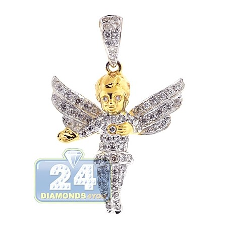 Mens Diamond Open Wings Angel Pendant 10K Yellow Gold 0.83ct