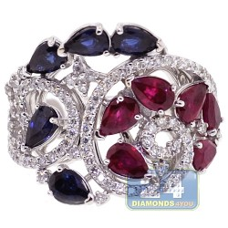 18K White Gold 3.64 ct Diamond Sapphire Ruby Womens Ring