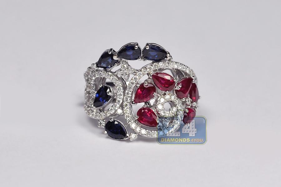 Womens Diamond Sapphire Ruby Ring 18k White Gold 3 64 Ct