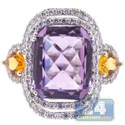 18K White Gold 12.68 ct Diamond Amethyst Citrine Womens Ring