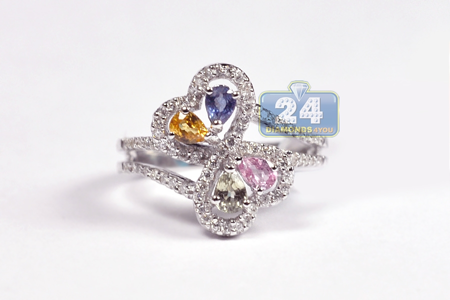 womens colorful gemstone ring 18k white gold 1 17 ct
