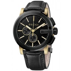 Gucci G-Chrono Black Leather Mens Watch YA101203