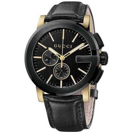 Gucci G-Chrono Black Leather Mens Watch YA101203