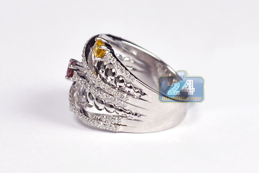 womens gemstone highway ring 18k white gold 1 42 ct