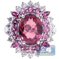 18K White Gold 5.63 ct Diamond Tourmaline Sapphire Womens Ring