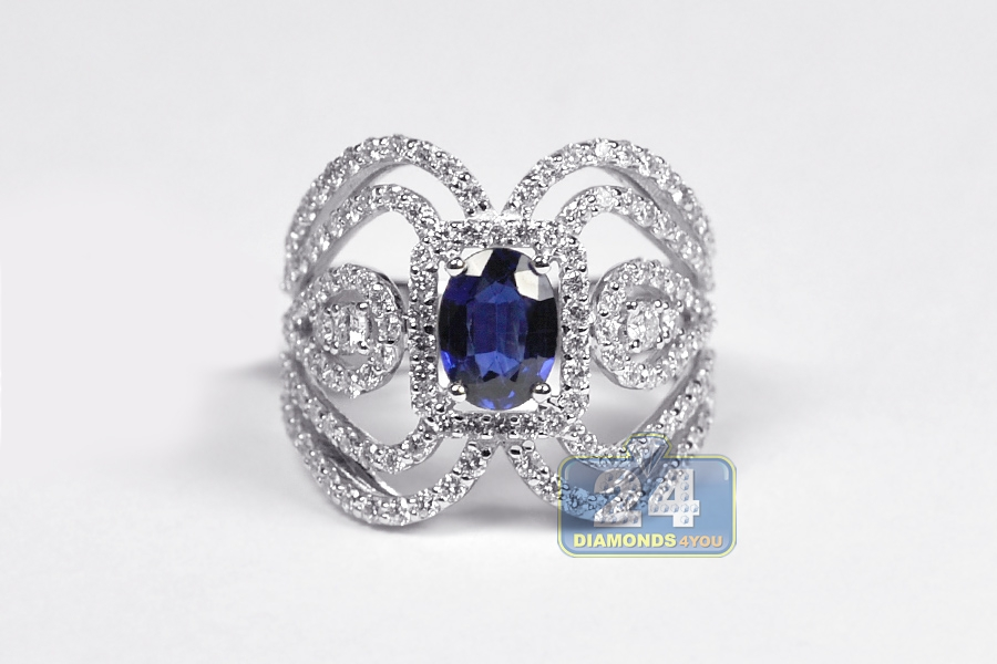 Womens Diamond Sapphire Vintage Ring 18k White Gold 3 11 Ct