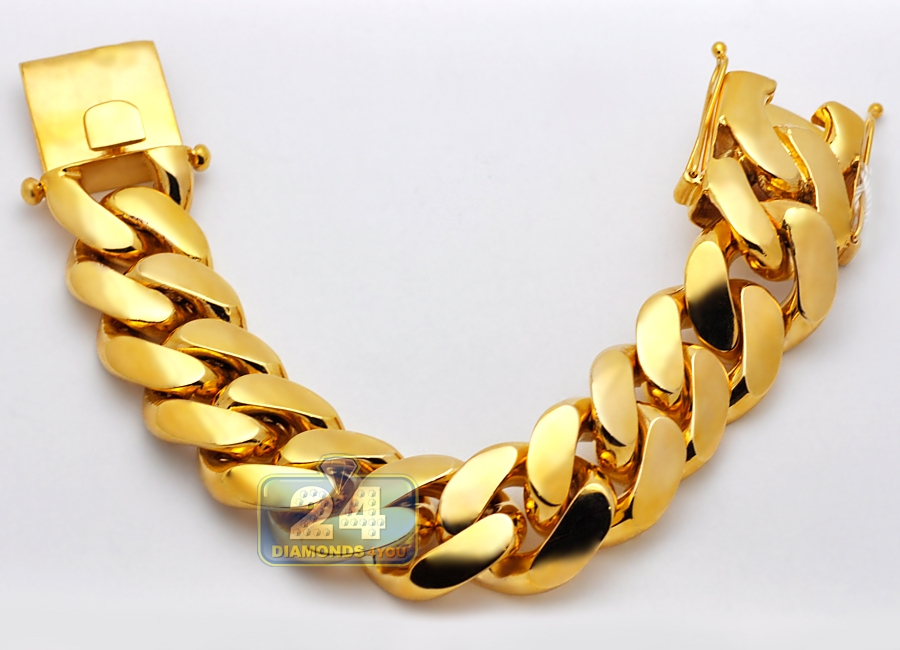 53f39e817 Solid 10K Yellow Gold Miami Cuban Link Mens Bracelet 26mm 9.5