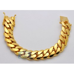 10K Yellow Gold Miami Cuban Link Mens Bracelet 18 mm 9 Inches