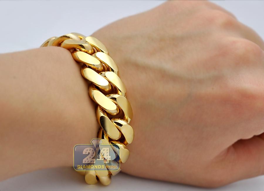 230ec9e4e7a8b 10K Yellow Gold Miami Cuban Link Mens Bracelet 18 mm 9 Inches