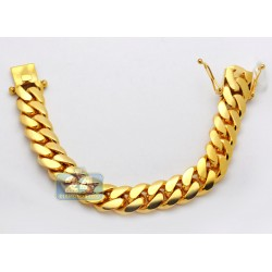 10K Yellow Gold Miami Cuban Link Mens Bracelet 16 mm 9 Inches