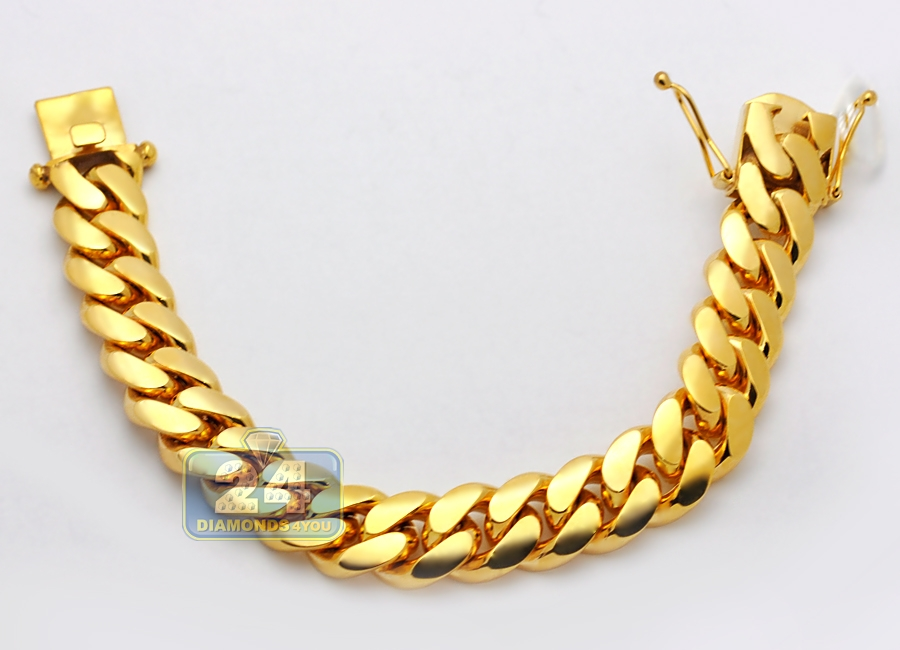 e3232bc01 Solid 10K Yellow Gold Miami Cuban Link Mens Bracelet 16 mm 9