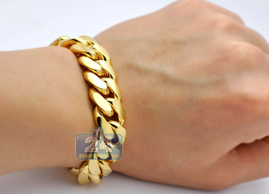 0481134484600 10K Yellow Gold Miami Cuban Link Mens Bracelet 16 mm 9 Inches
