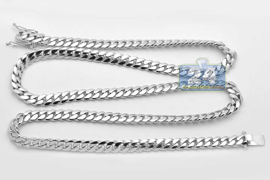 14k white gold miami cuban link mens chain 78 mm 32 inches aloadofball Gallery