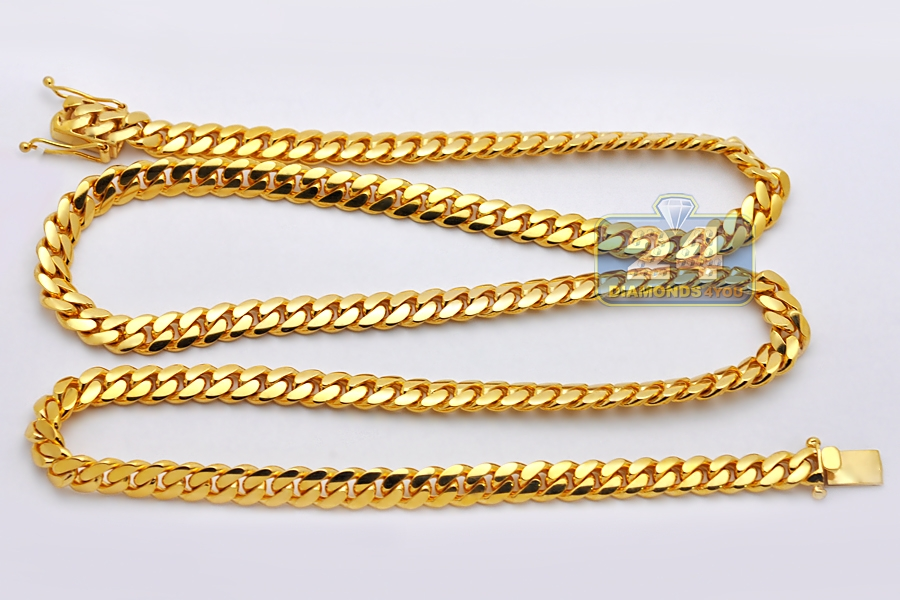 s men gold necklace mens chapa unbranded chain yellow mm link pin cuban plated