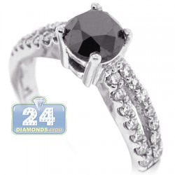 18K White Gold 1.91 ct Round Black Diamond Womens Engagement Ring