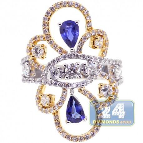 18K Two Tone Gold 2.36 ct Diamond Sapphire Womens Vintage Ring