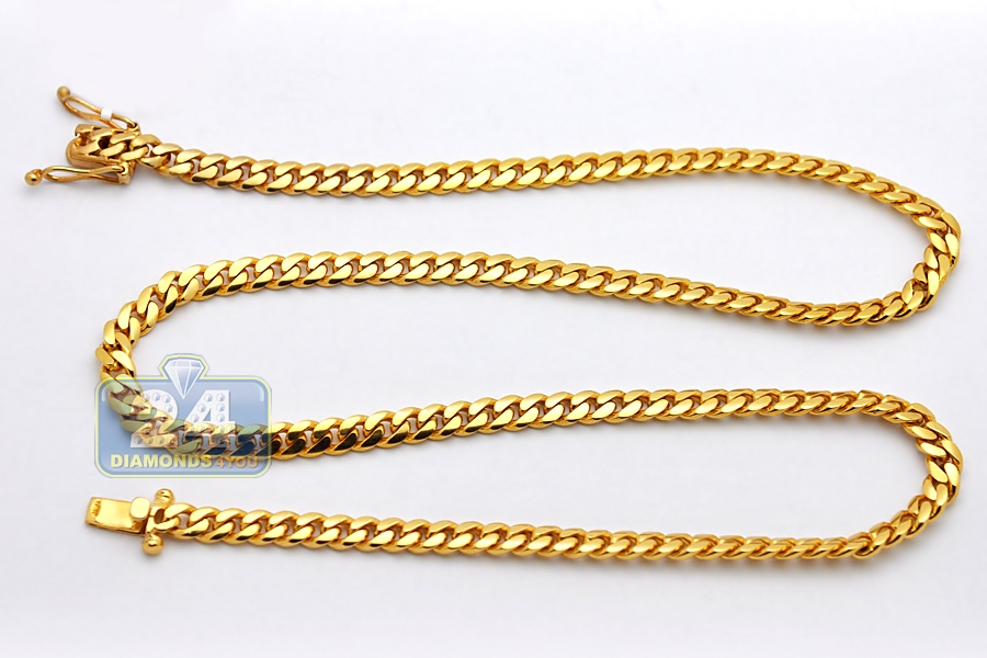 chain gold solid cuban mm chains miami yellow inches mens link