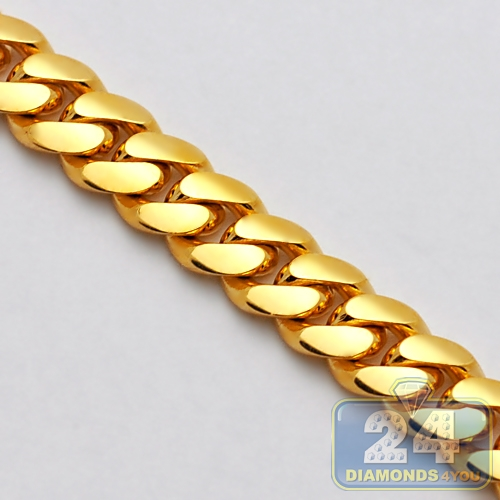 27cafe02c Mens Miami Cuban Link Chain Solid 10K Yellow Gold 11mm 30