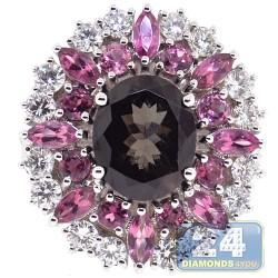 18K White Gold 6.39 ct Diamond Tourmaline Sapphire Womens Ring