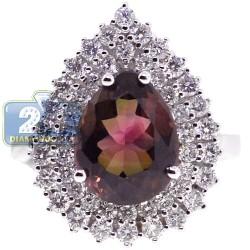 18K White Gold 6.50 ct Diamond Multicolor Tourmaline Womens Ring