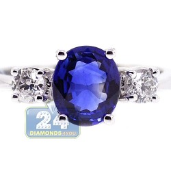 18K White Gold 2.09 ct Diamond Sapphire Womens Engagement Ring