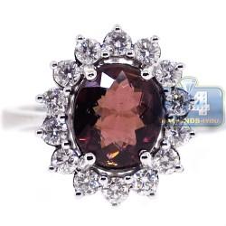 18K White Gold 3.24 ct Diamond Pink Tourmaline Womens Ring